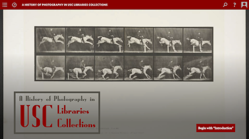 screenshot for digital exhibition, history of photography