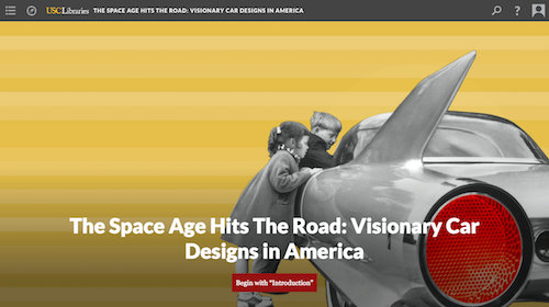 screenshot for digital exhibition, space age hits the road