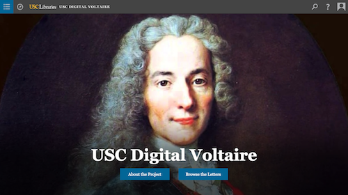 screenshot for digital exhibition, usc digital voltaire