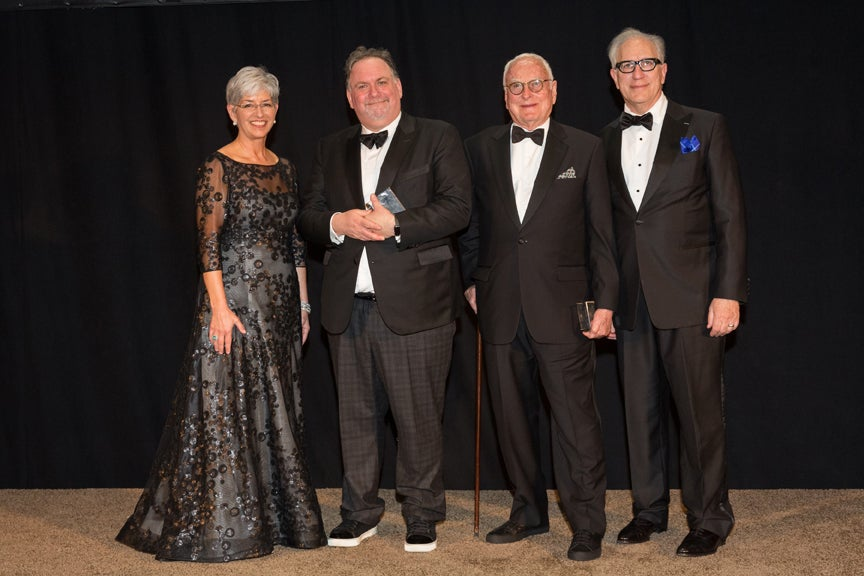 USC Libraries Dean Catherine Quinlan, Scripter winners Bruce Miller and James Ivory, and Howard Rodman