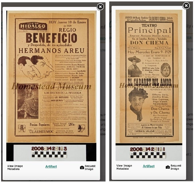Broadsides from Teatro Hidalgo and Teatro Principal, which were both located along Main Street in downtown Los Angeles, advertis