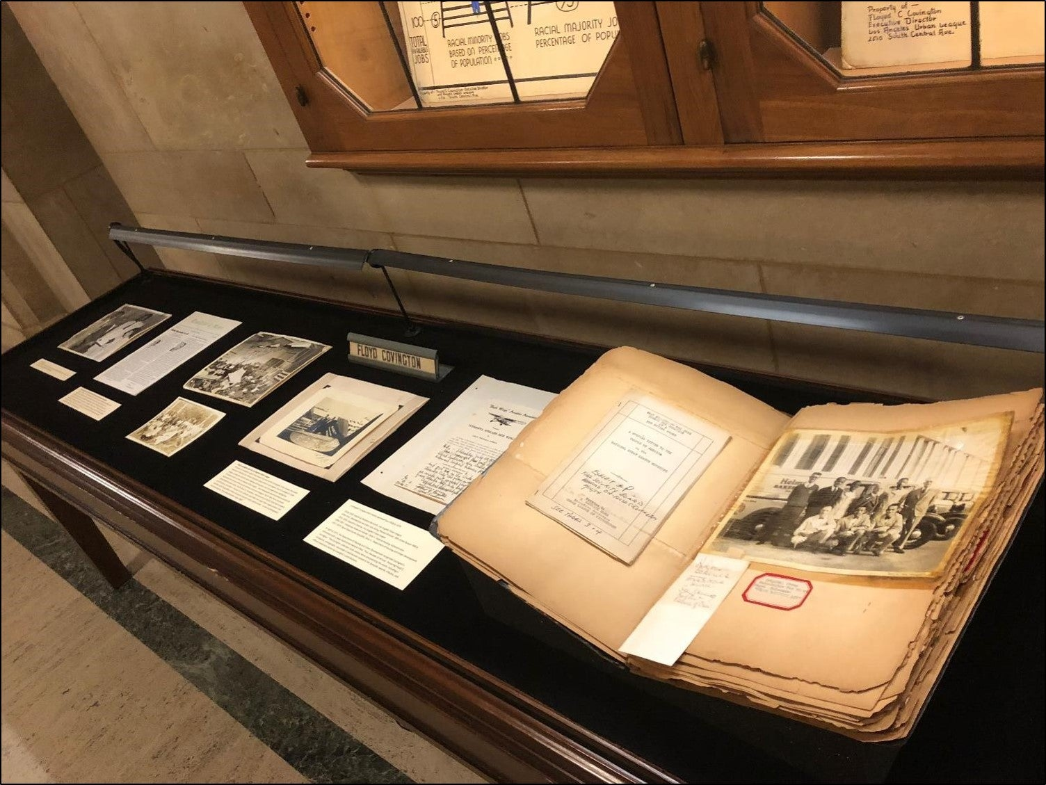 Floyd C. Covington papers - lobby left display case