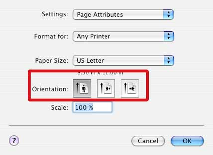 how to print pdf landscape on mac