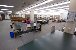 Tables and Carrels in the Norris Medical Library Lower Level