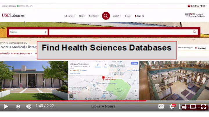 Find Health Sciences Databases Video Tutorial