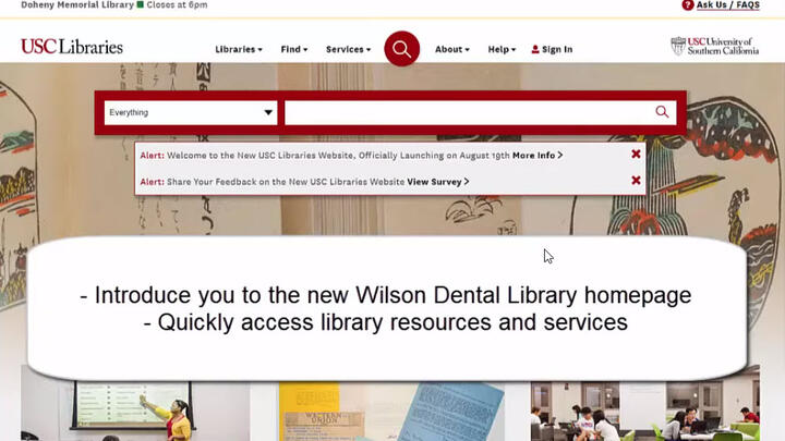 Wilson Dental Library Website Introduction Video Tutorial