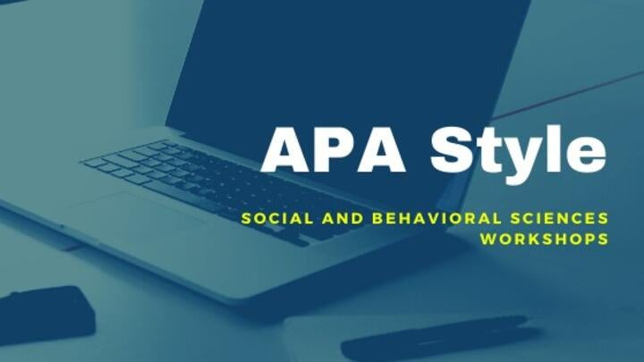 stock photo laptop and title of workshop category: APA style
