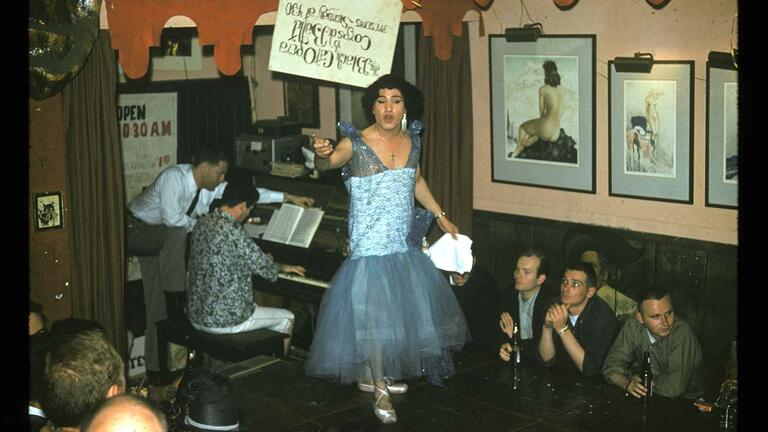 Jose Sarria performs a drag show at the Black Cat Bar in the early 1960s. Photo via ONE National Gay & Lesbian Archives at the U