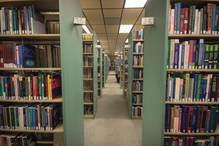 Book stacks in Norris Medical Library