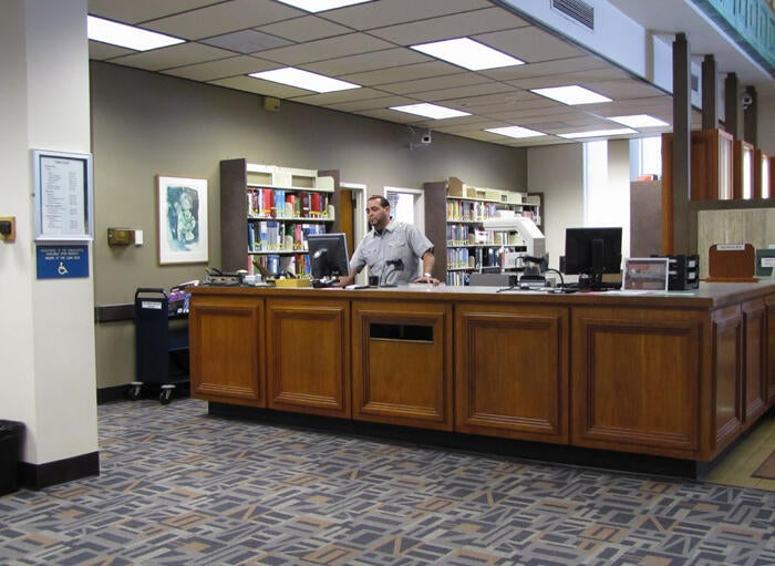 Loan Desk at Norris Medical Library