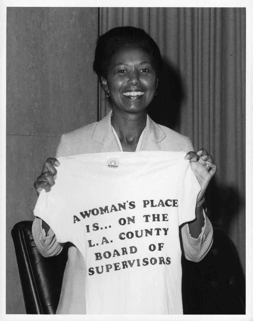 Yvonne Brathwaite Burke celebrating her first anniversary on the Board of Supervisors in 1980. Library Exhibits Collection, USC Digital Library